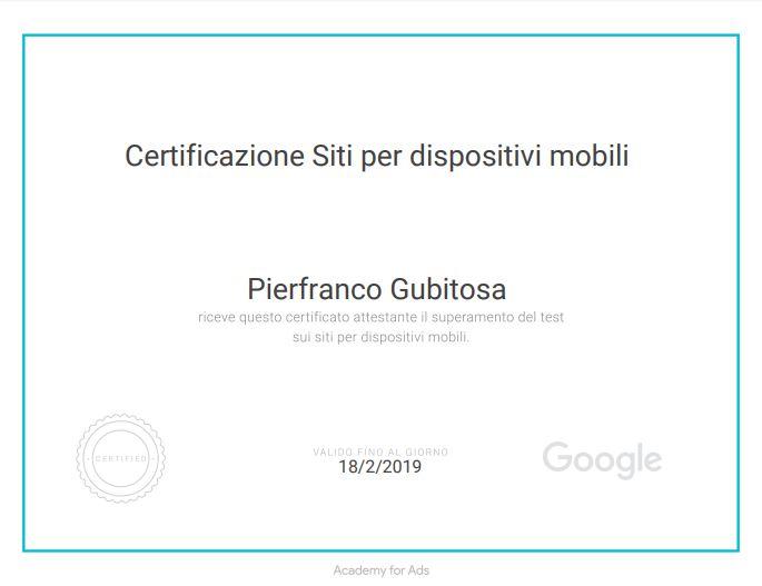 Certificato siti per dispositivi mobili