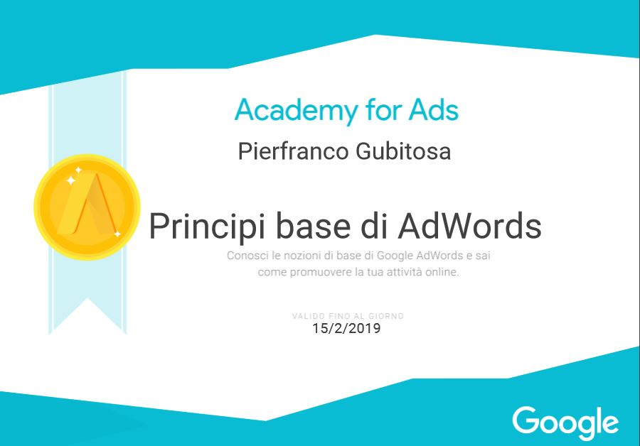 certificato adwords